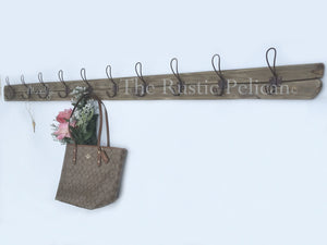 Rustic Reclaimed Wood Coat Rack, 6'Ft., Farmhouse Style Decor, Coat Hanger, Entryway Decor