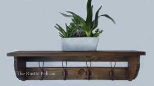 Rustic wood Coat Rack, Farmhouse style, entryway Shelf, Reclaimed Wood