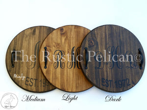 Personalized rustic wooden wine barrel, lazy susan, wedding gifts, HAND PAINTED