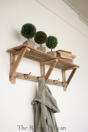 Rustic Coat Rack,  Reclaimed Wood Shelf, Rustic Wooden Shelf, Farmhouse Shelf, Farmhouse shelf