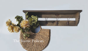 Rustic wood Coat Rack, Farmhouse style, entryway Shelf