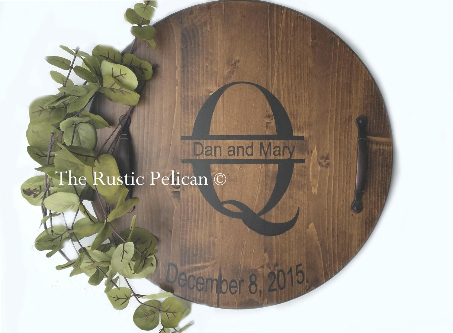 Personalized Wine Barrel Lazy Susan The Rustic Pelican