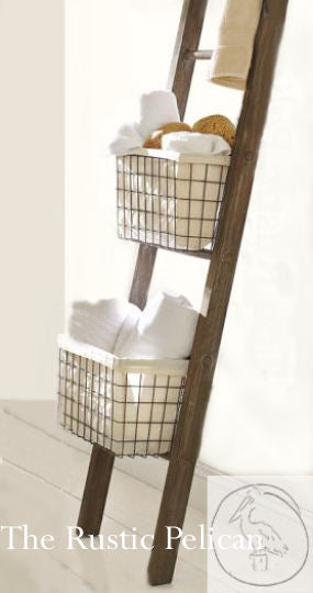 Wooden ladder, ladder towel rack, bathroom organizers storage ladder