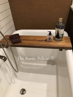 Rustic wood bathtub Tray - bath Caddy