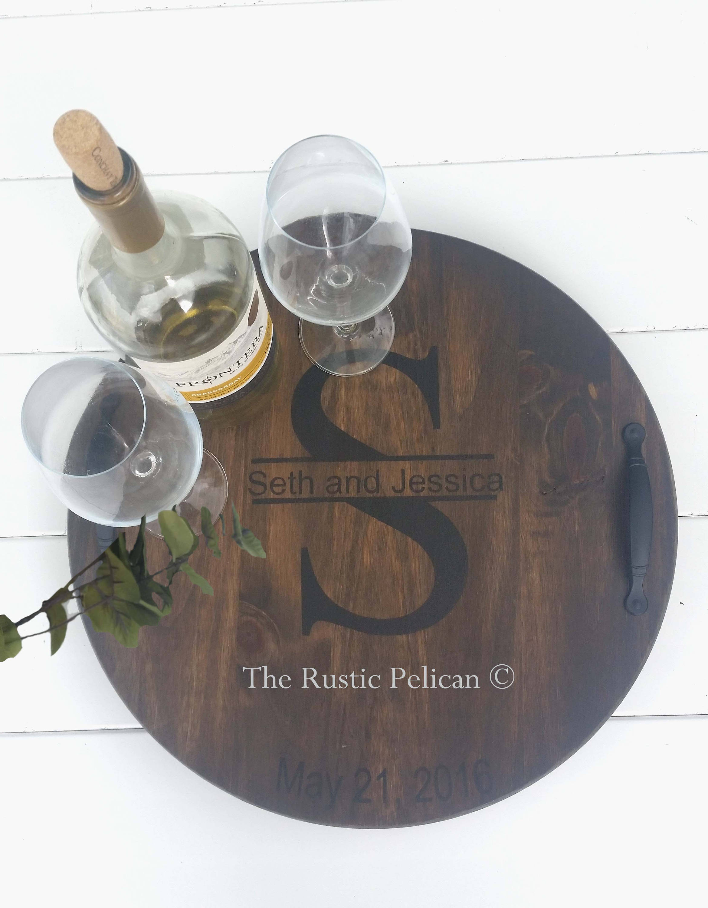 Personalized Wood Wine Barrel Lazy Susan The Rustic Pelican