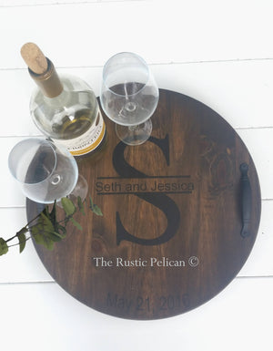 Personalized wood wine Barrel, Lazy Susan
