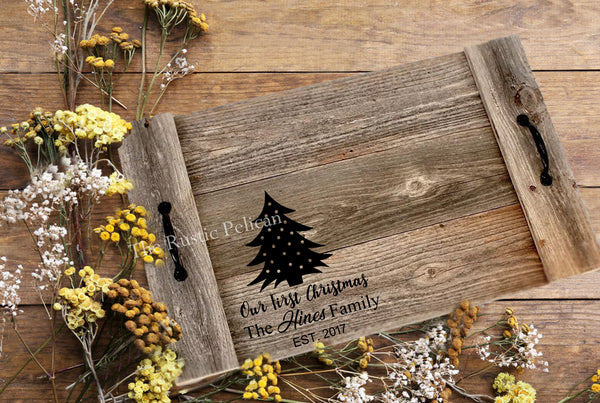 Rustic personalized wooden tray, farmhouse home decor, first Christmas