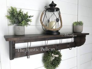 Rustic Coat Rack, Farmhouse Decor, Reclaimed wood style, Wooden entryway shelf