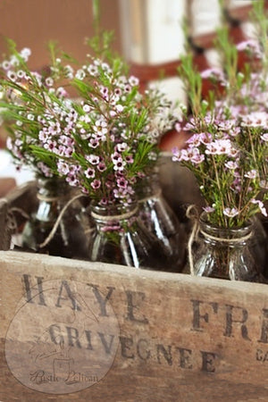 Rustic Reclaimed wood farmhouse style wedding centerpiece with 8 Milk Bottles