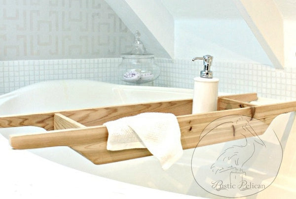 Rustic Bathtub Tray, Wood Shower caddy