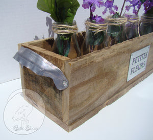 Rustic reclaimed wood centerpiece