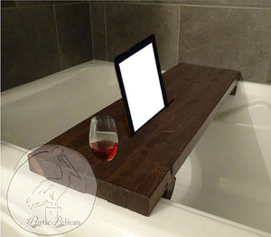 Rustic Bathtub tray, Rustic wood tub caddy