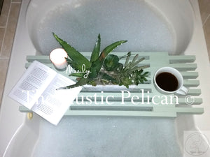 Bath Tray - Shower Caddy Wood Bathtub Tray green
