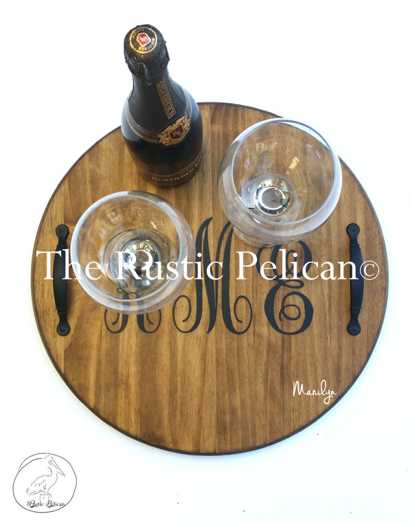 Wine Barrel, Lazy Susan, Personalized Monogram