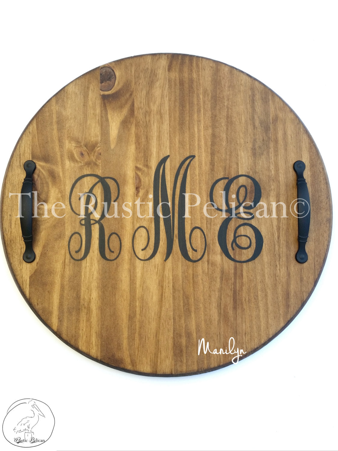 Wine Barrel Lazy Susan Personalized Monogram The Rustic Pelican