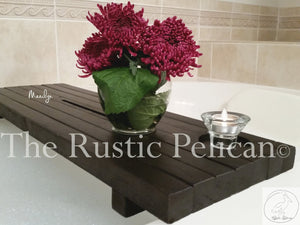 Rustic wood bath tray, shower caddy