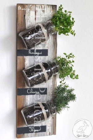 Mason Jars, Indoor herb garden rustic wall decor