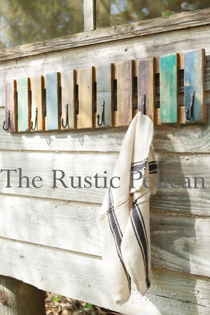 Reclaimed Wood Towel Rack, Rustic Beach Decor