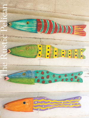 Beach Home Wall Art, Bathroom Decor, Set of 4 Wooden hand painted fish