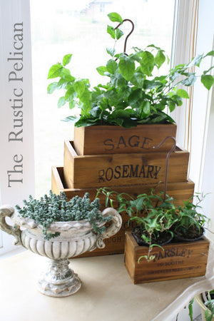 Reclaimed Wood style Farmhouse Kitchen Spice Planters, Rustic Kitchen Decor