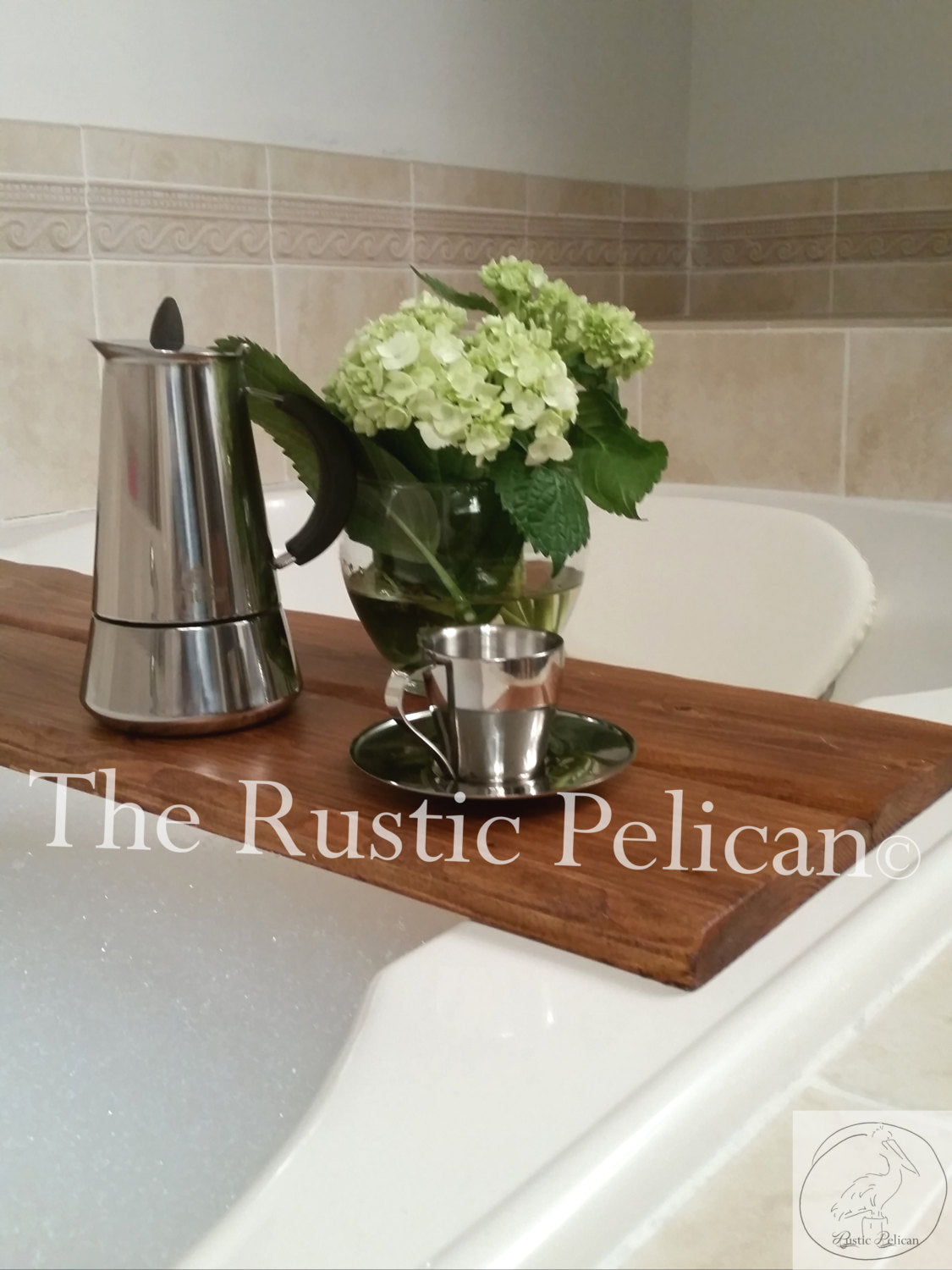 Modern Rustic wood bathtub tray, bath caddy - The Rustic Pelican