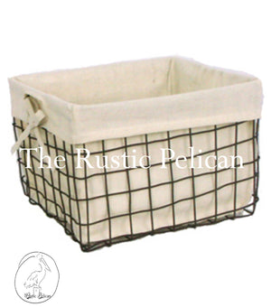 bathroom storage bin Rustic, lined basket, bath storage