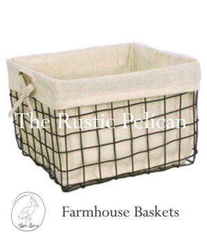 Rustic Farmhouse Wire baskets, Bathroom Storage