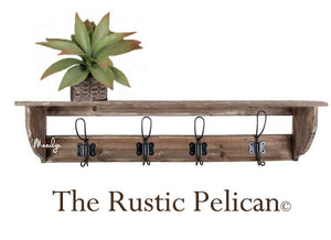 Rustic wood Coat Rack, Farmhouse Decor, Entryway Shelf, Reclaimed Wood Coat Rack