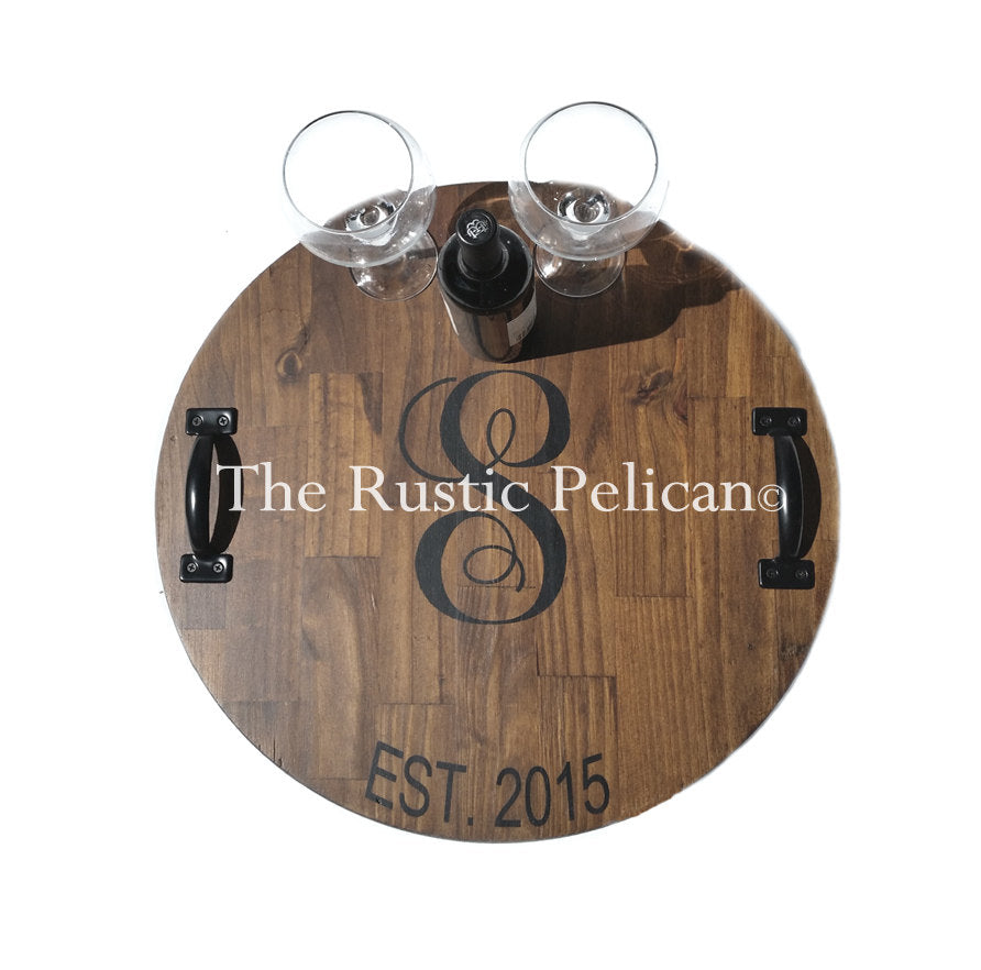 Large Wooden Wine Barrel Personalized Lazy Susan The Rustic Pelican