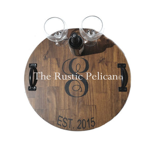 Large Wooden Wine Barrel, Personalized lazy susan