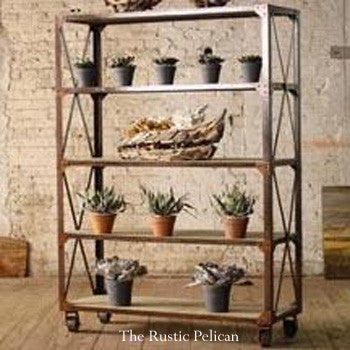 Shelves, Modern, industrial, wood metal shelving unit with castors