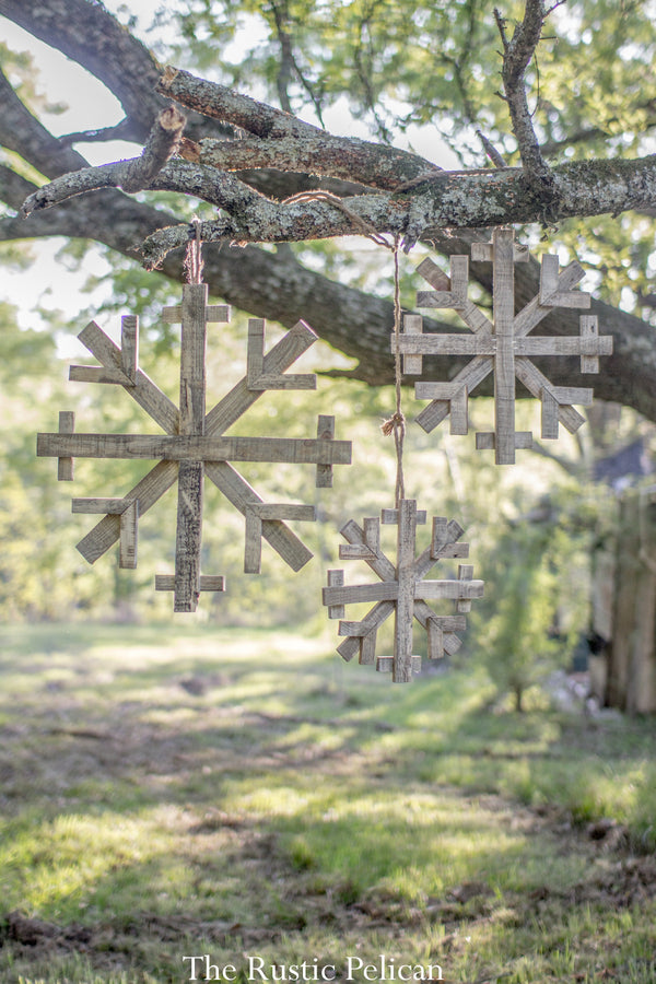 Reclaimed Wood Snowflakes - Set of 3