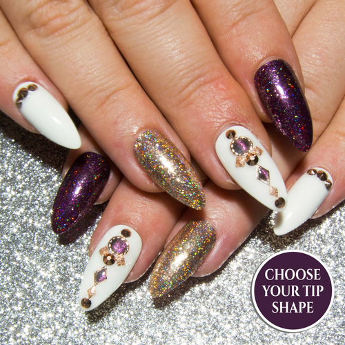 """Lady of the House"" - Rose Gold, Purple & White Embellished Press On Nails"