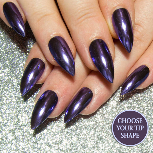 """Purple Chrome"" - Medium Purple Metallic Nails - All Tip Shapes"