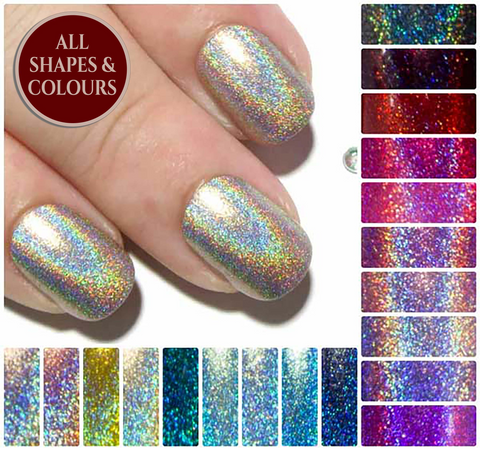 """The Ultra Holographic Glitters"" - Glitter Fake Nails"