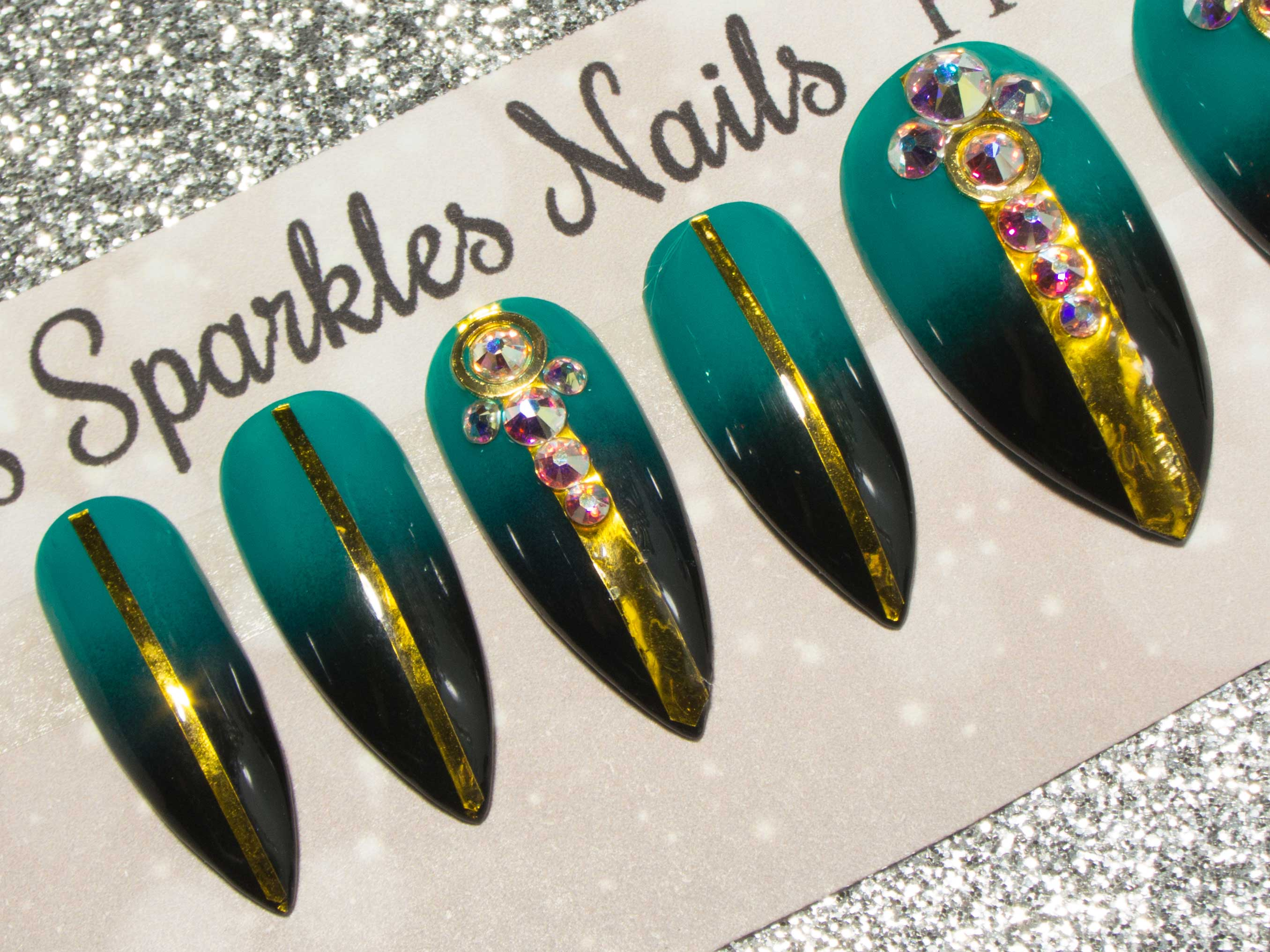 """Envy"" - Black & Teal Ombre False Nails with Gold Deco & AB Crystals"