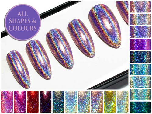 """The Holographics"" - Almond Fake Nails"