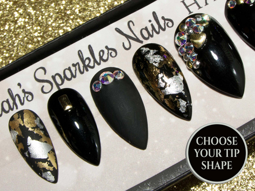 """Mixed Metals"" Black, Silver & Gold Nails - All Tip Shapes"