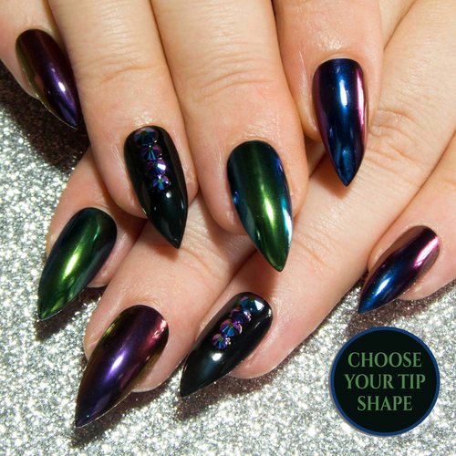 """Scarab Queen"" - Mixed Chrome, Iridescent ""Scarabeus"" Crystal & Black Gloss Fake Nails"