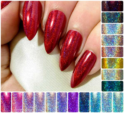 """Rose Gold HCF"" - Metallic-Glitter Hybrid Chrome & Holographic False Nails"
