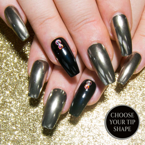 """Mirror Image"" - Silver Chrome, Black Gloss & Swarovski AB Crystal False Nails"