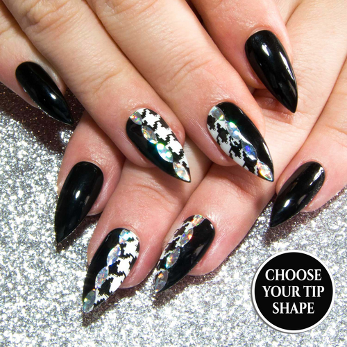 """Tooth & Nail"" - Black & White Press On Nails with Houndstooth"
