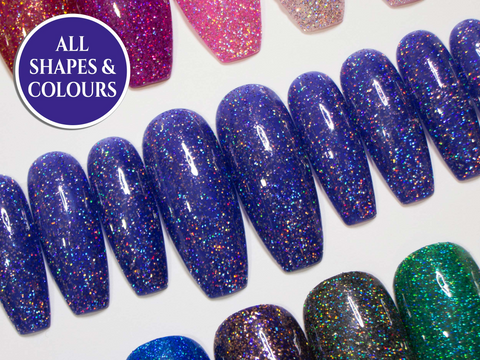 """The Ultra Holographic Glitters"" - Fake Nails with Glitter"