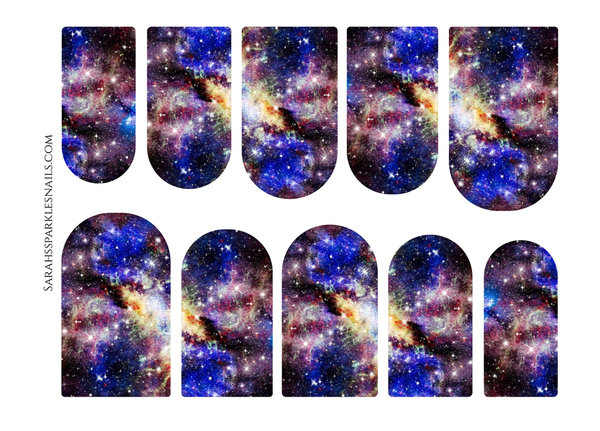 Blue Yellow & Purple Galaxy Nail Decals