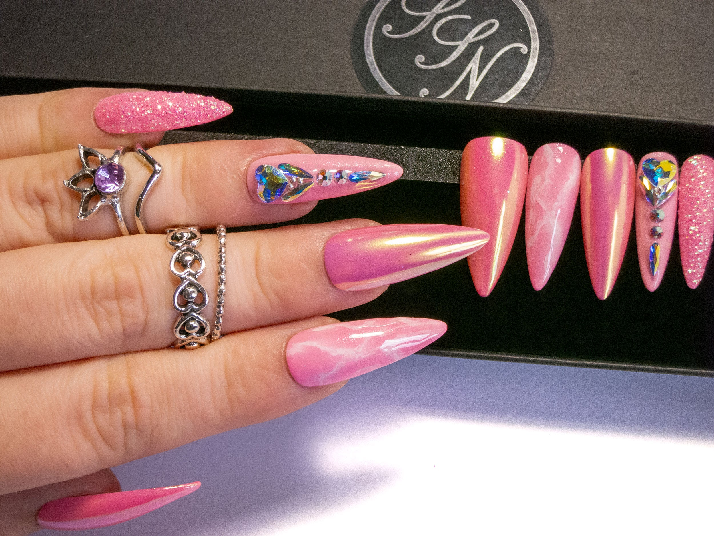 """Ice Princess"" - Light Pink & AB Swarovski Bling Press On Nails"