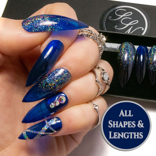 """Blue Right Through"" Blue Glass Nails with AB Crystals & Glitter"