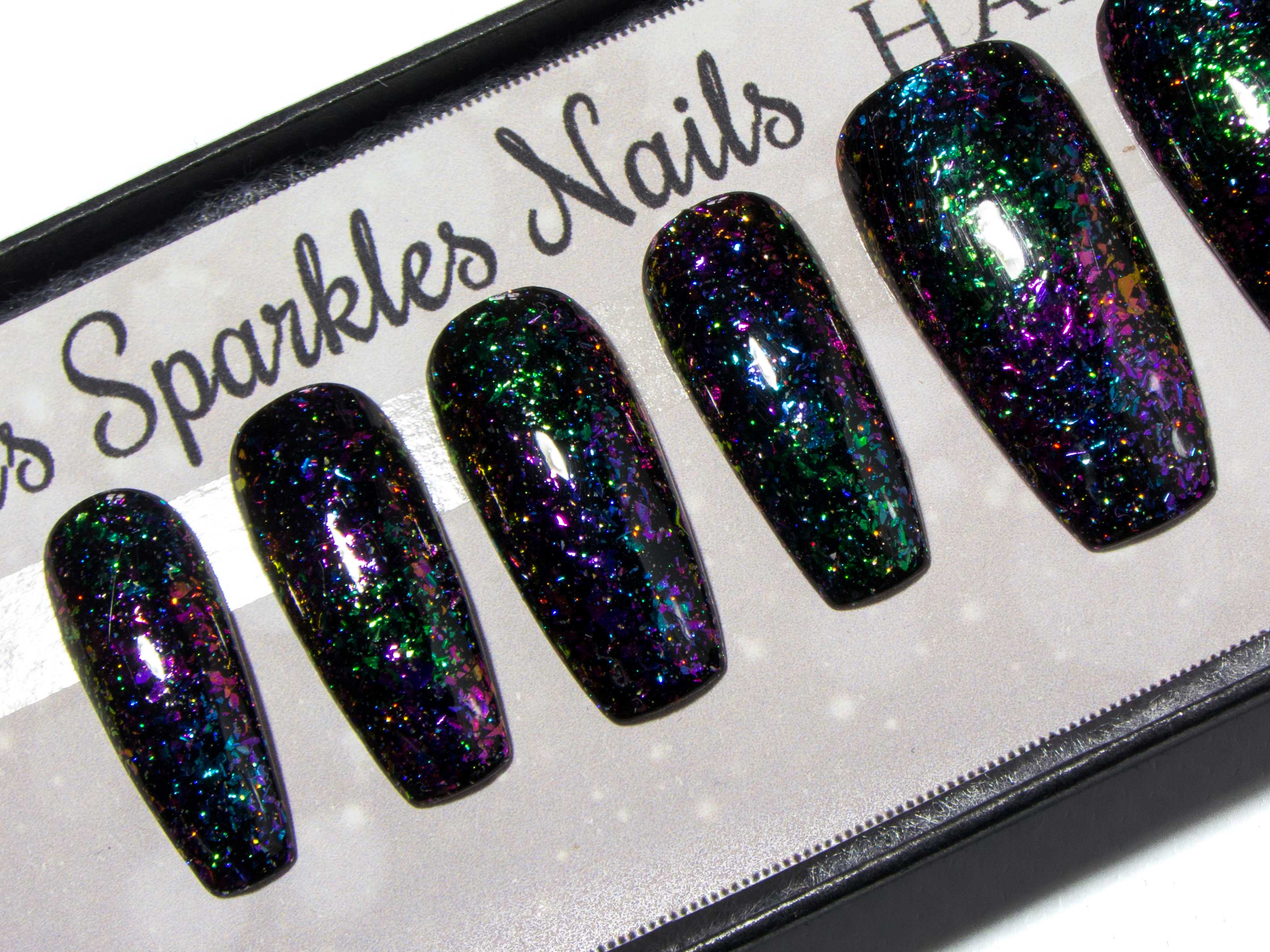 """Intergalactic"" Mixed Colour-Shifting Flakies & Holo Sparkle Press On Nails"