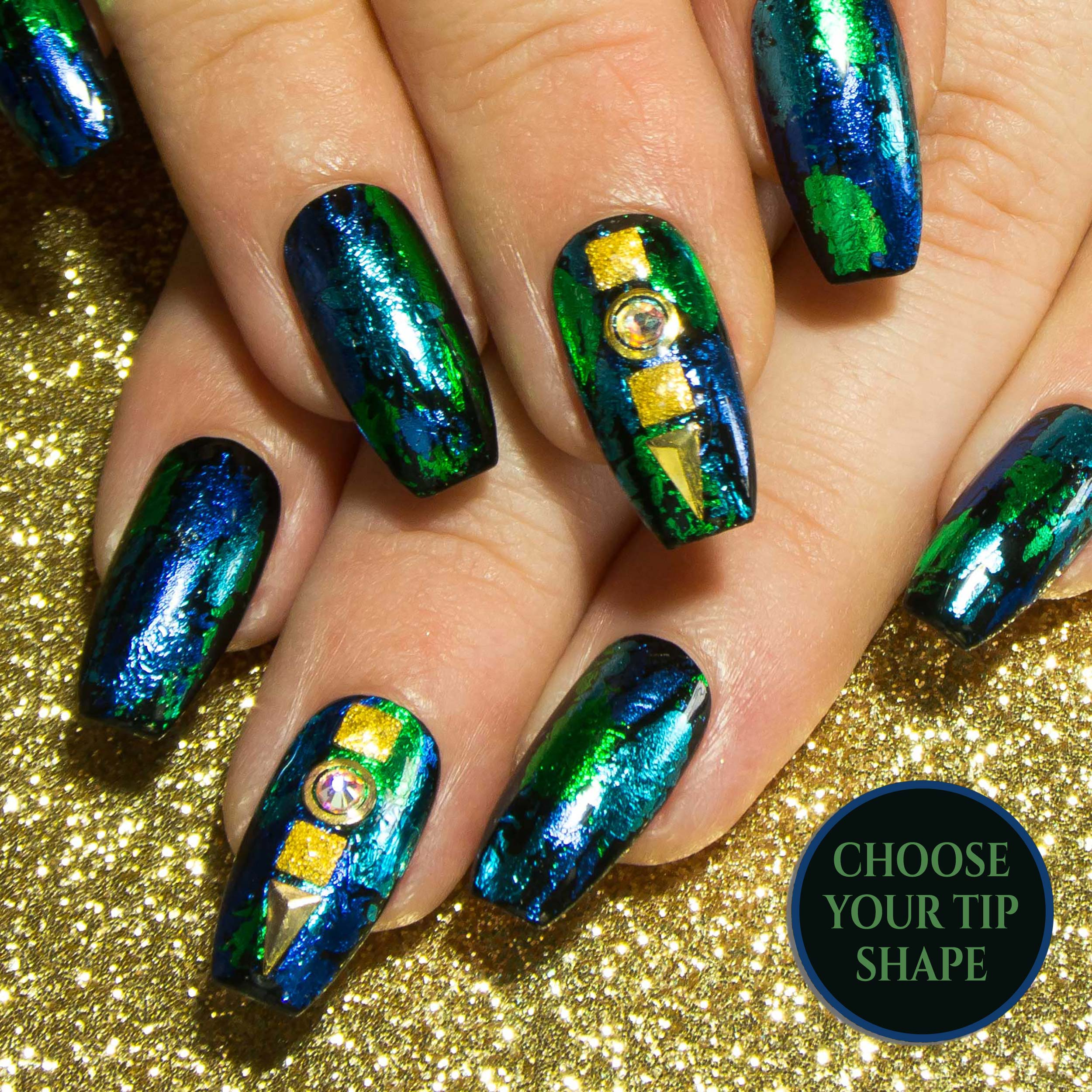 """Sea Me Shine"" Foil Design False Nails - Blue & Green with Gold Deco"