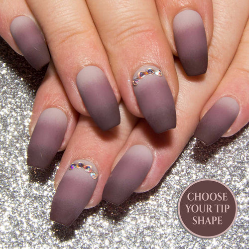 """Nudist"" Matte or Gloss Neutral Ombre Nails with AB Swarovski Crystals"