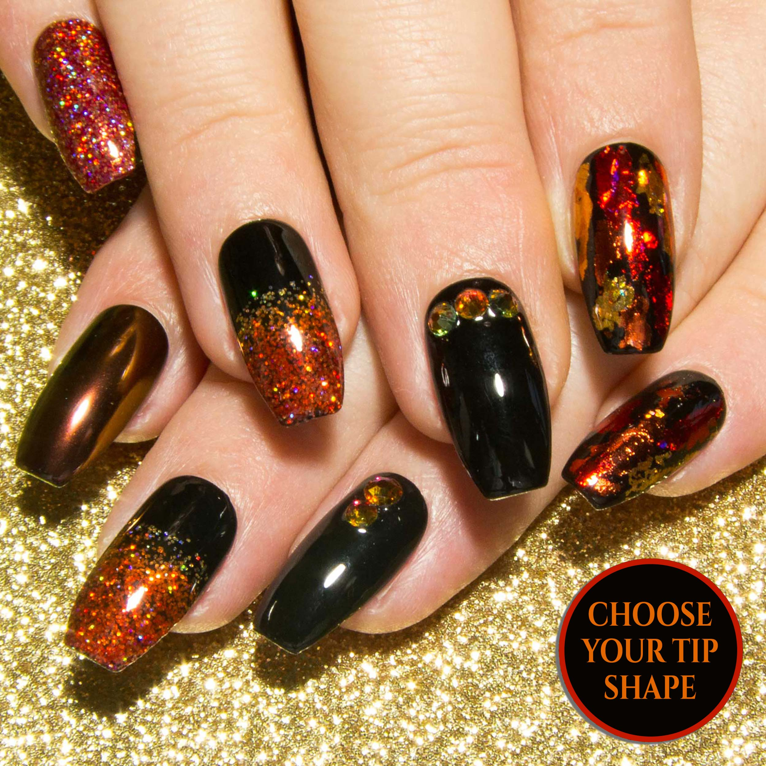 Coffin Nails Chrome Press On Nail Art Fire Crystals And Black Sarah S Sparkles Nails With thousands of pins on pinterest, it seems that i'm not alone. molten black red orange false nails with volcano crystals
